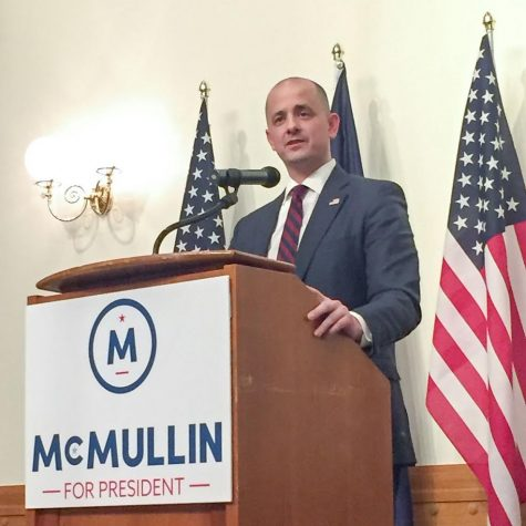 Evan McMullin delivers a speech at a rally. McMullin pulled in a substantial amount of votes in Utah, his home state.