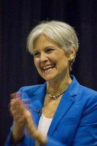 Jill Stein speaks at a campaign stop in Omaha, Neb. Stein represents the Green Party.