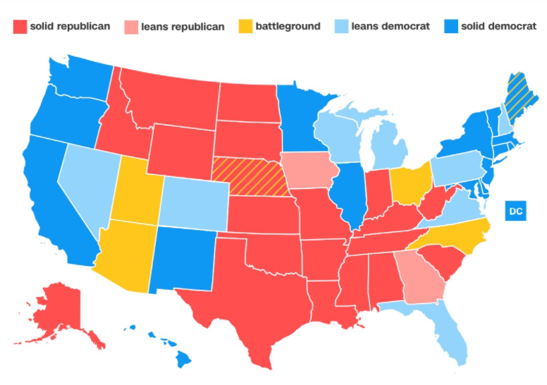 A map of the results of the 2016 presidential election. Each state has a certain amount of electors that ultimately votes for their preferred candidate.