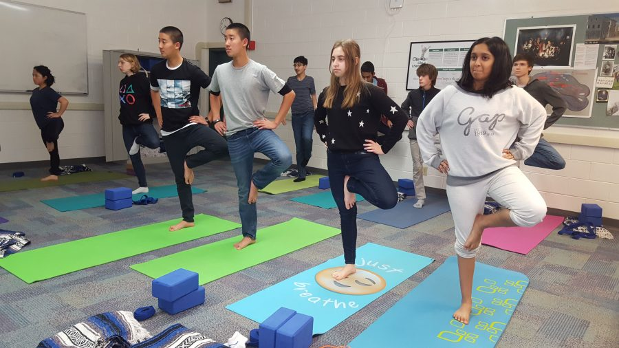 Students practice a pose during a yoga session. The athletic department offers yoga, along with capoeira, as an alternative for earning P.E. credits.