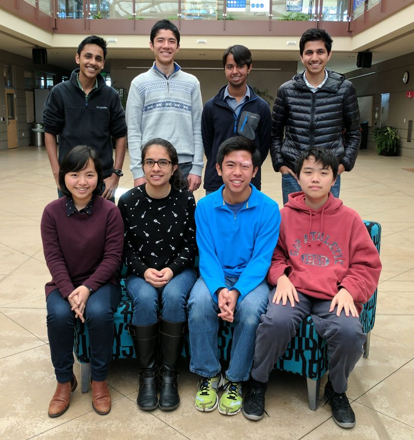Eight of the nine Regeneron Science Talent Search scholars, all seniors, convened for a group photo. From top left, proceeding left right, top bottom: Arjun Subramaniam, Sandip Nirmel, Venkat Sankar, Manan Shah, Angela Kim, Evani Radiya-Dixit, Kai-Siang Ang and Scott Song. Srivatsav Pyda was also named a scholar but was not present for the photo.
