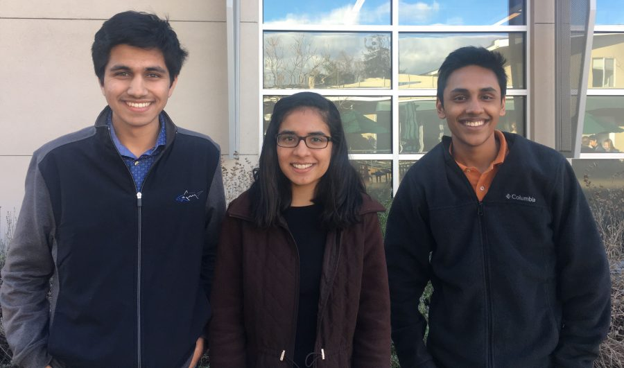 The three Regeneron Science Talent Search finalists from Harker, all seniors. From left to right: Manan Shah, Evani Radiya-Dixit, and Arjun Subramaniam.