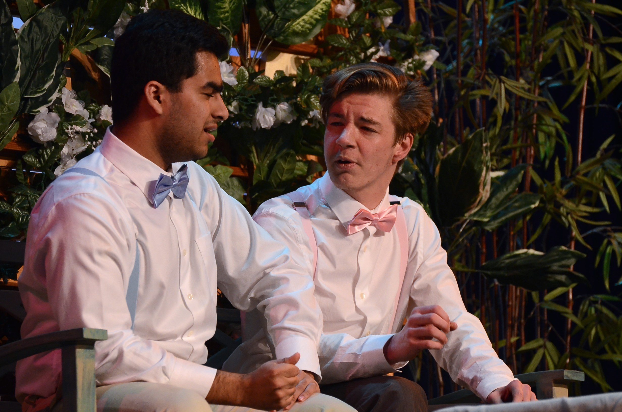Aditya+Dhar+%2812%29+and+Brandon+Stoll+%2812%29+have+a+conversation+while+sitting+on+a+bench+in+%22The+Importance+of+Being+Earnest.%22+The+performance+of+this+play+was+directed+by+Sana+Aladin+%2812%29.