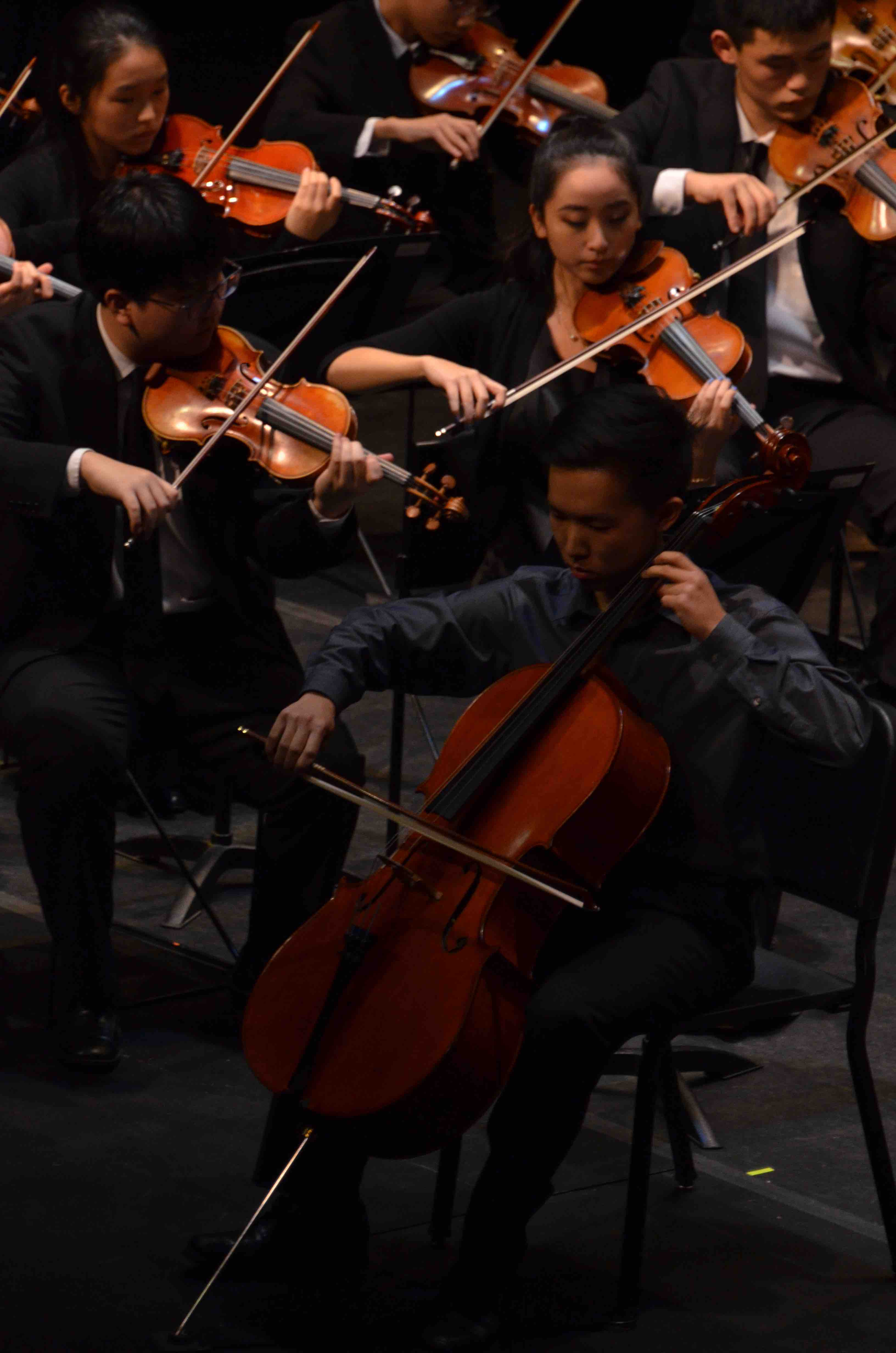 Edward+Oh+%2812%29+plays+cello+as+a+member+of+the+upper+school+Orchestra.+The+Winter+Concert+took+place+on+January+13+at+the+Mexican+Heritage+Theater.