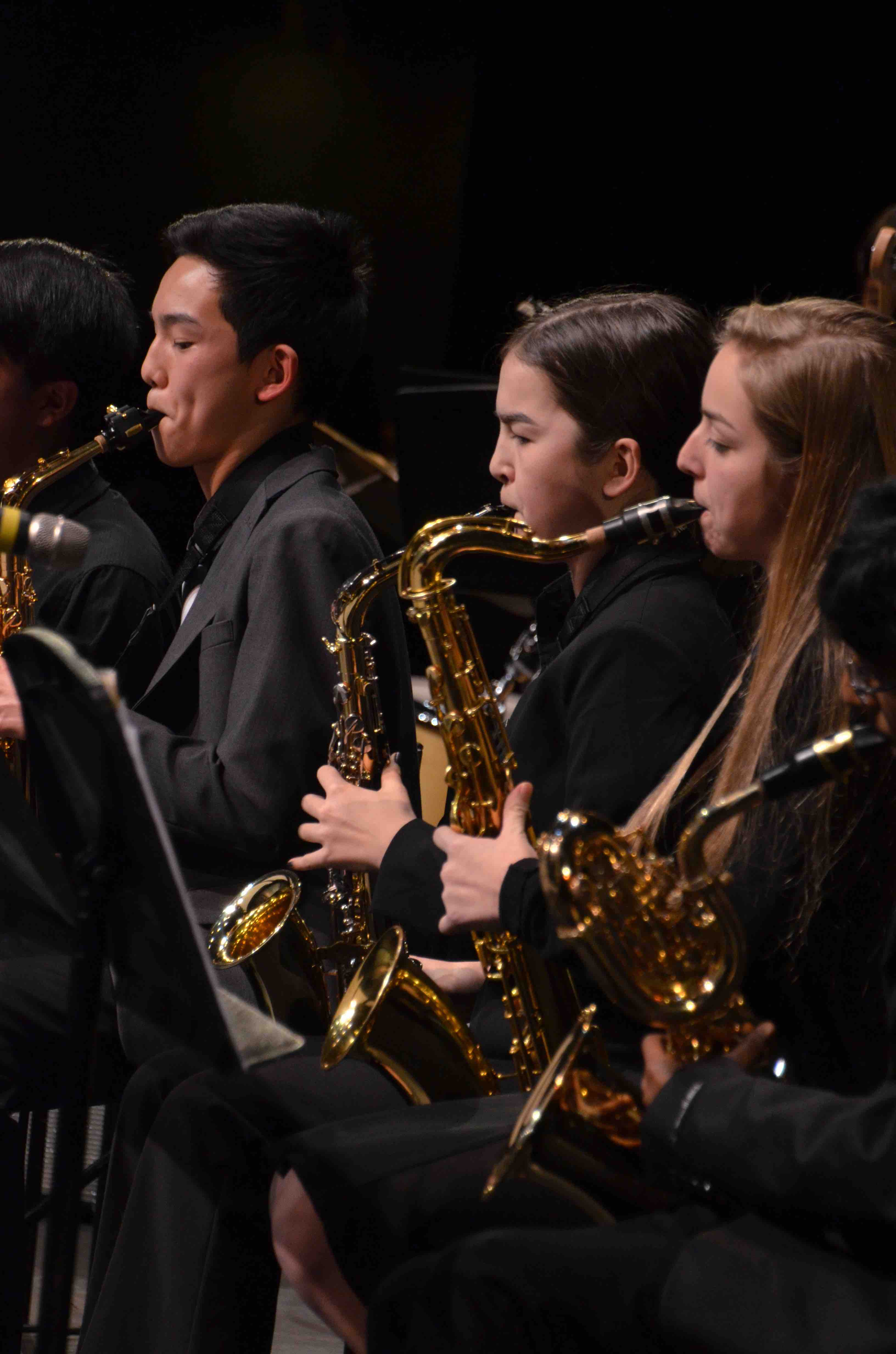 Students+play+saxophone+as+members+of+the+upper+school+Jazz+Band.+The+Winter+Concert+took+place+on+January+13+at+the+Mexican+Heritage+Theater.