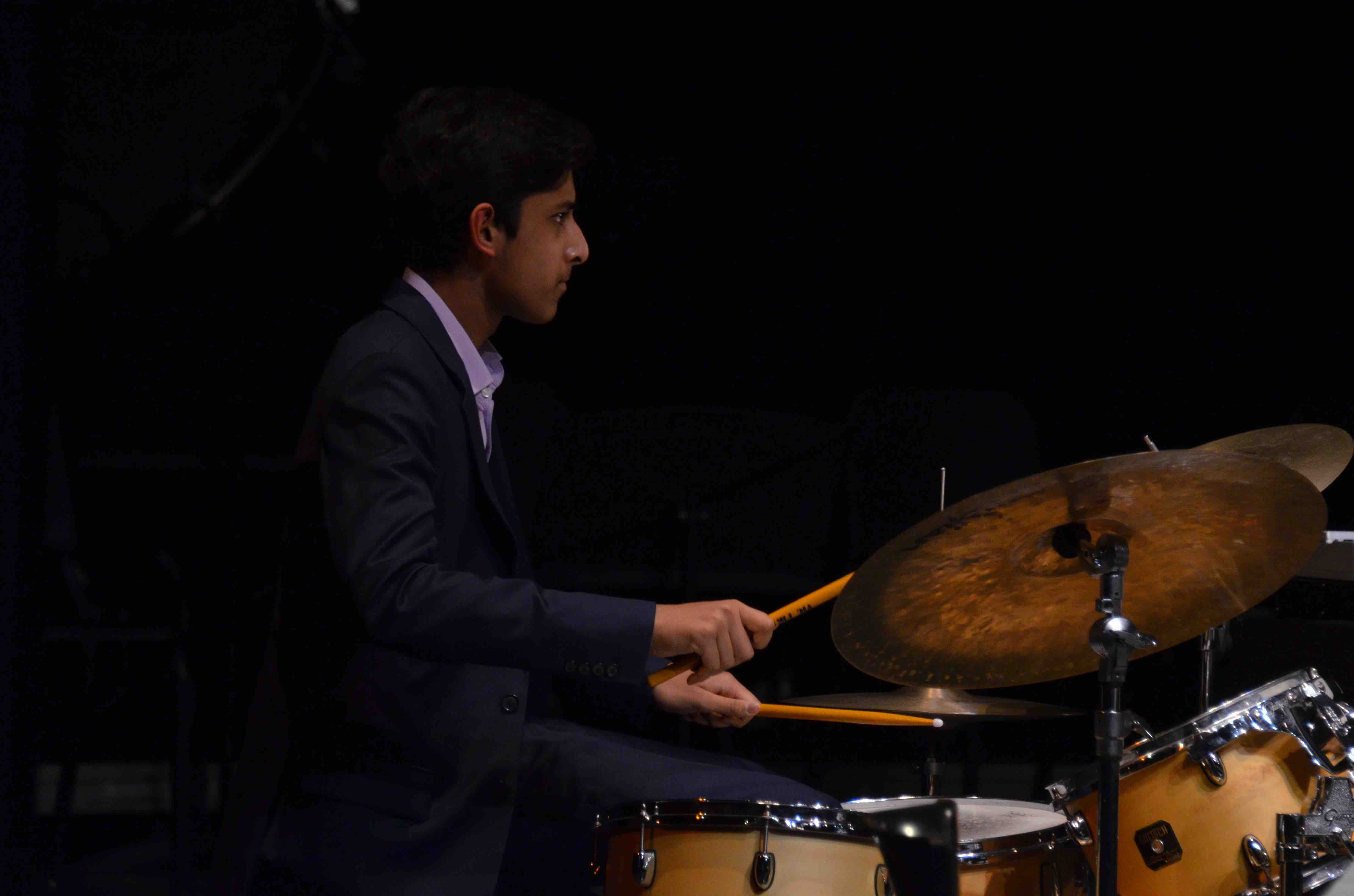 Neil+Ramaswamy+%2810%29+plays+drums+while+performing+with+the+upper+school+Jazz+Band.+The+Winter+Concert+took+place+on+January+13+at+the+Mexican+Heritage+Theater.