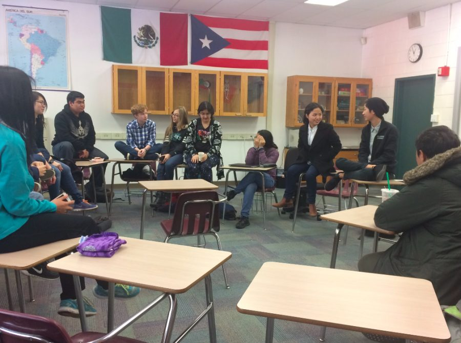 Students in the Gender Sexuality Alliance (GSA) club discuss methods to welcoming LGBT into classrooms and learning environments. They also made plans for their upcoming club week.