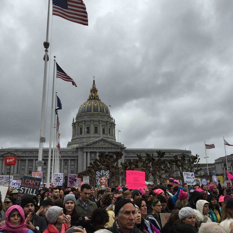 Participants+in+the+Women%27s+March+in+San+Francisco+hold+up+signs.+The+number+of+demonstrators+in+major+cities+across+the+country+as+well+as+overseas+significantly+exceeded+the+amount+of+expected+participants.