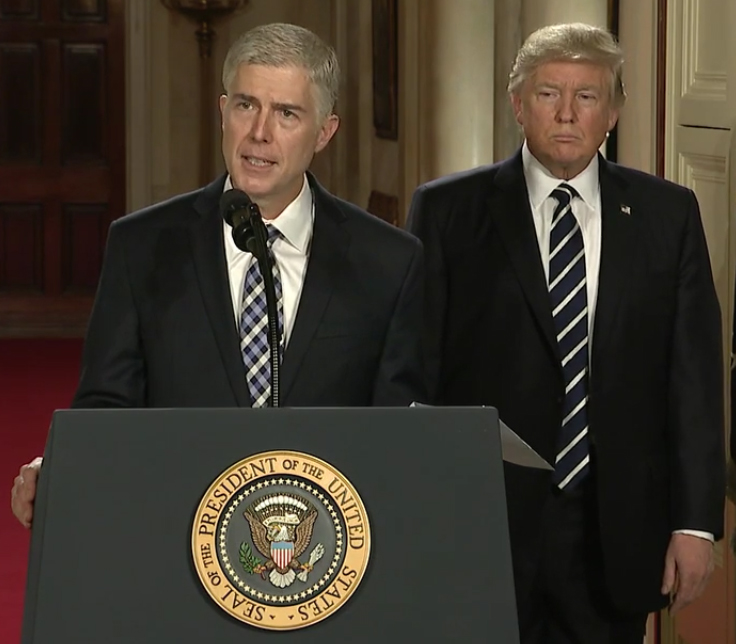 President+Donald+Trump+nominated+Judge+Neil+M.+Gorsuch+to+the+Supreme+Court%2C+proposing+a+new+justice+to+fill+the+year-long+vacancy+left+behind+by+the+late+conservative%2C+Justice+Antonin+Scalia.+Gorsuch+speaks+at+his+nomination+announcement.+%0A
