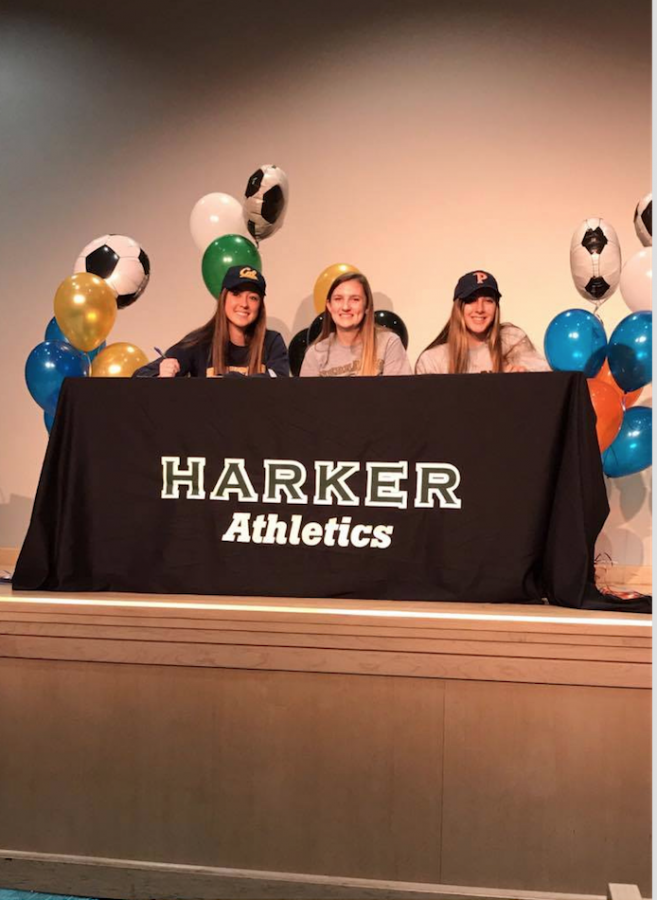 Seniors Kailee Gifford, Lyndsey Mitchell, Joelle Anderson all sign to their respective colleges to play soccer during National Signing Day. Kailee will attend UC Berkeley, Lyndsey will play at Nebraska Wesleyan, and Joelle at Pepperdine University.