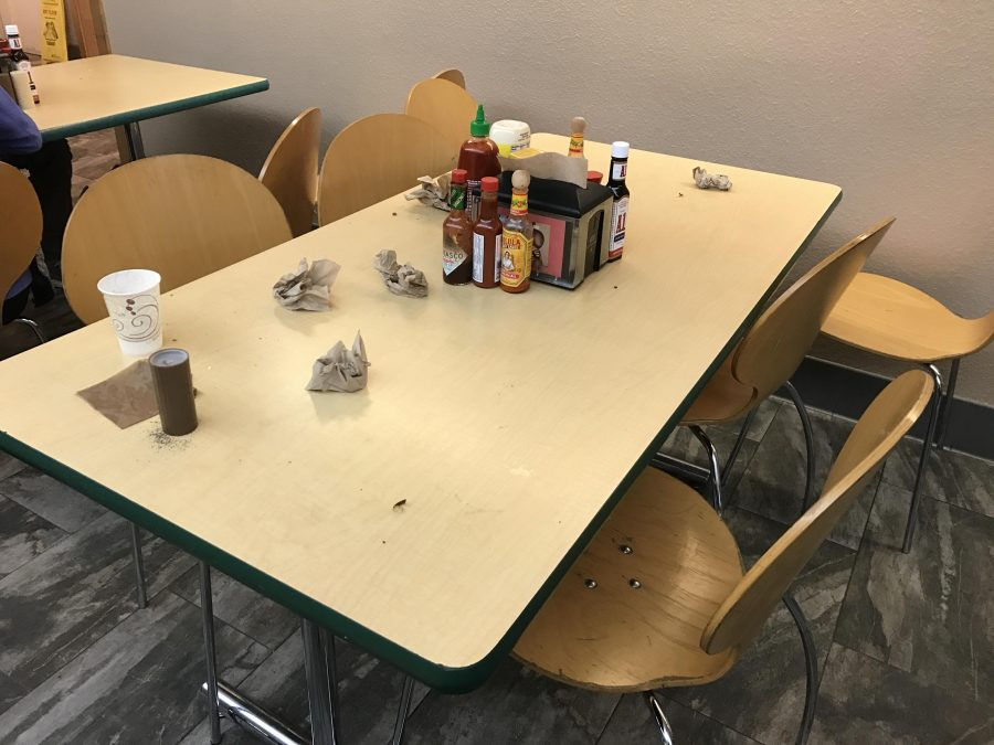Students leave behind trash after lunch in Manzanita. Dean Kevin Williamson sent out a reminder to students to clean up after themselves.