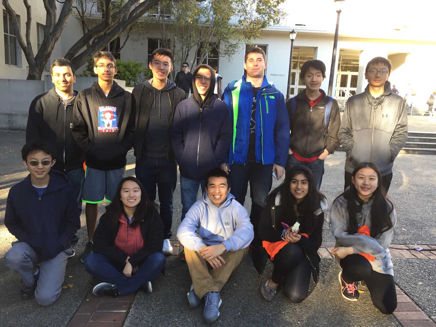 Both teams that attended the Berkeley Math Tournament pose for a picture before taking the contest. Harker students took second place in the overall team standings and first place in the power round of the competition.