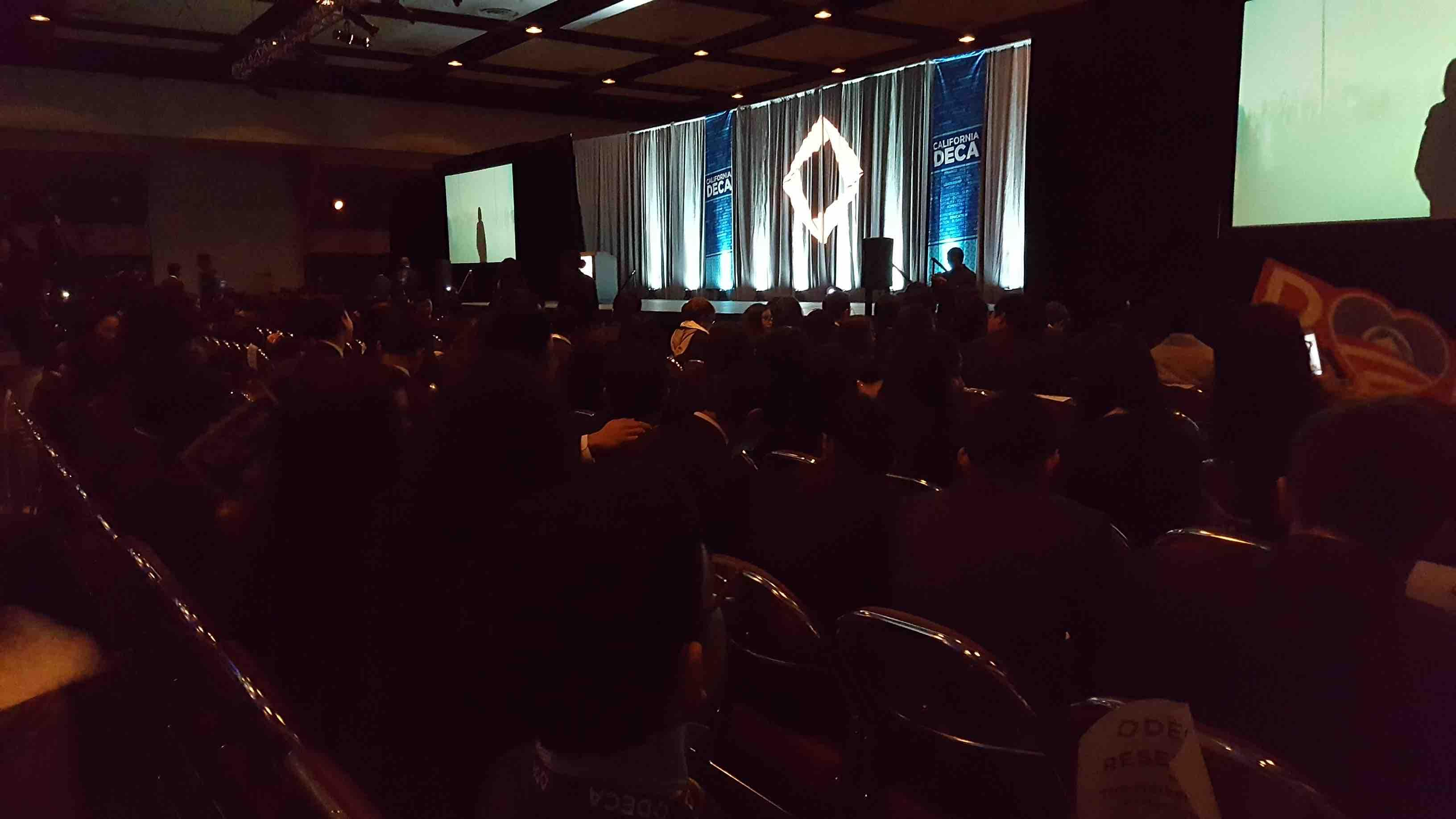 Students sit in anticipation for the awards ceremony at DECA SCDC to begin. The event took place from Thursday, March 2 to Sunday, March 5 in the Santa Clara Marriott.