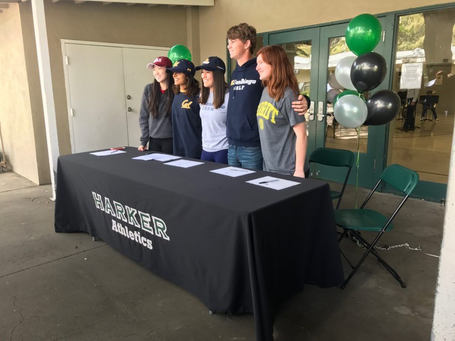 Seniors+Rachel+Cheng%2C+Niki+Iyer%2C+Taylor+Iantosca%2C+Ryan+Vaughan%2C+and+Marti+Sutton+pose+for+a+photo.+These+five+seniors+signed+for+their+respective+college+athletics+programs+today.