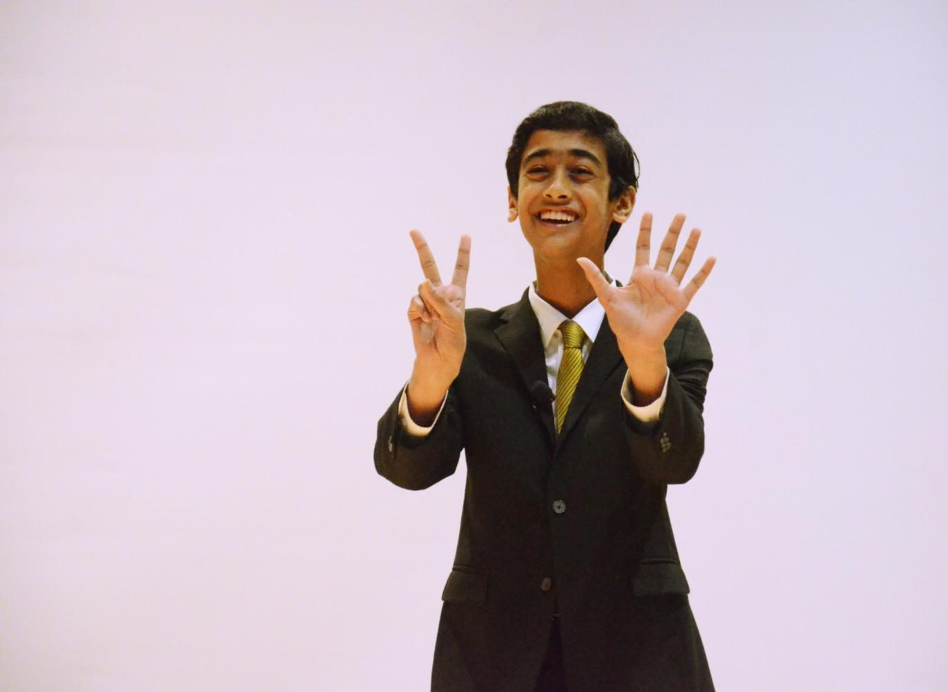 Nikhil Dharmaraj (10) performs an excerpt of his self-written speech The Power of Small during todays Speech Showcase. This years event was held in the Nichols Auditorium from 12:35 to 1:25 p.m.