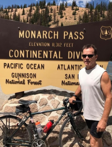 Charles Shuttleworth at Monarch Pass, Colorado, on the 39th day of the trip. The ride, lasting a total of 62 days, started in Yorktown, Virginia, and spanned across America, ending in San Francisco.