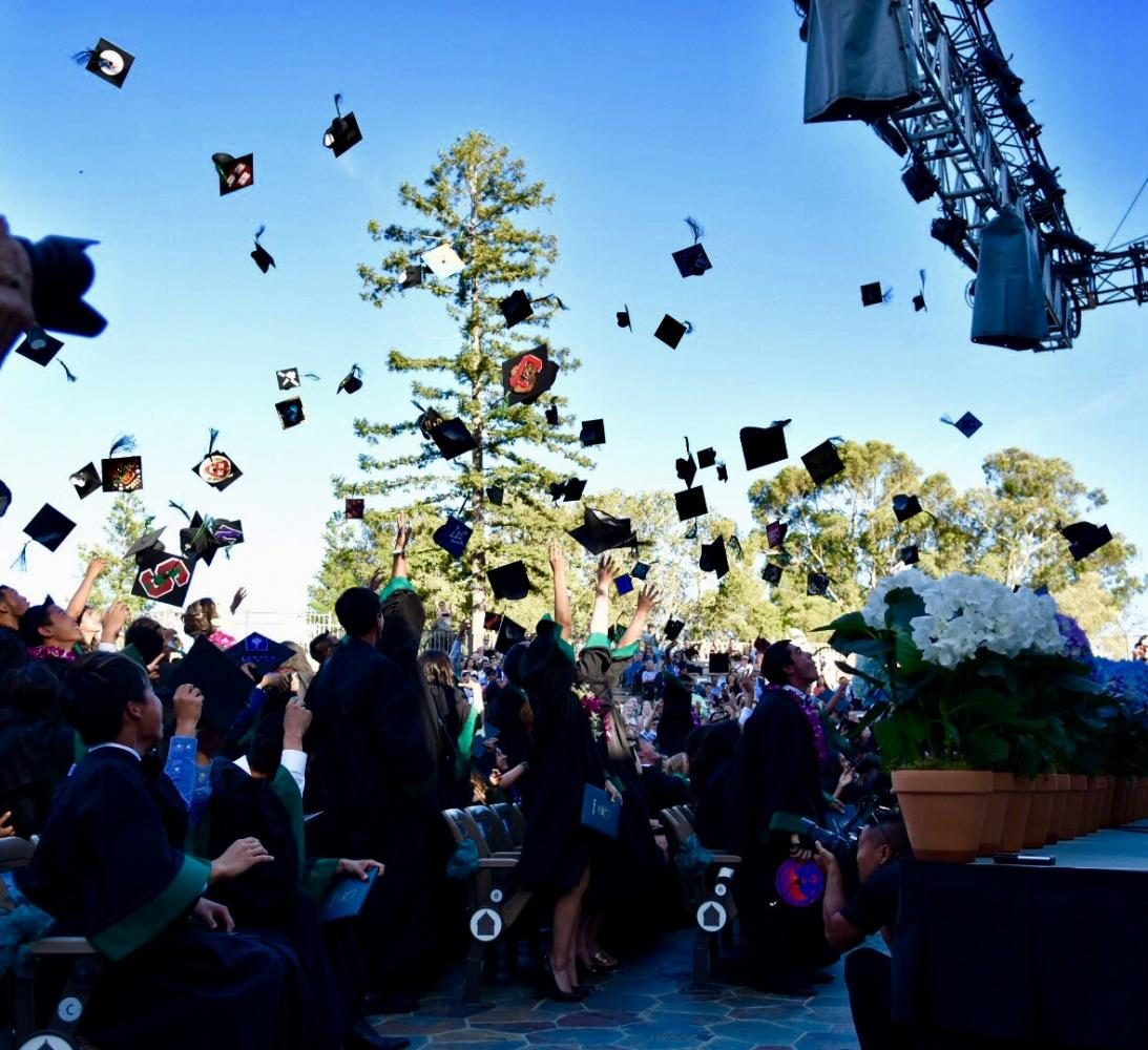 The+Class+of+2017+throws+their+caps+into+the+air.+The+graduation+ceremony+was+held+at+the+Saratoga+Mountain+Winery+yesterday+from+5+to+7+p.m.