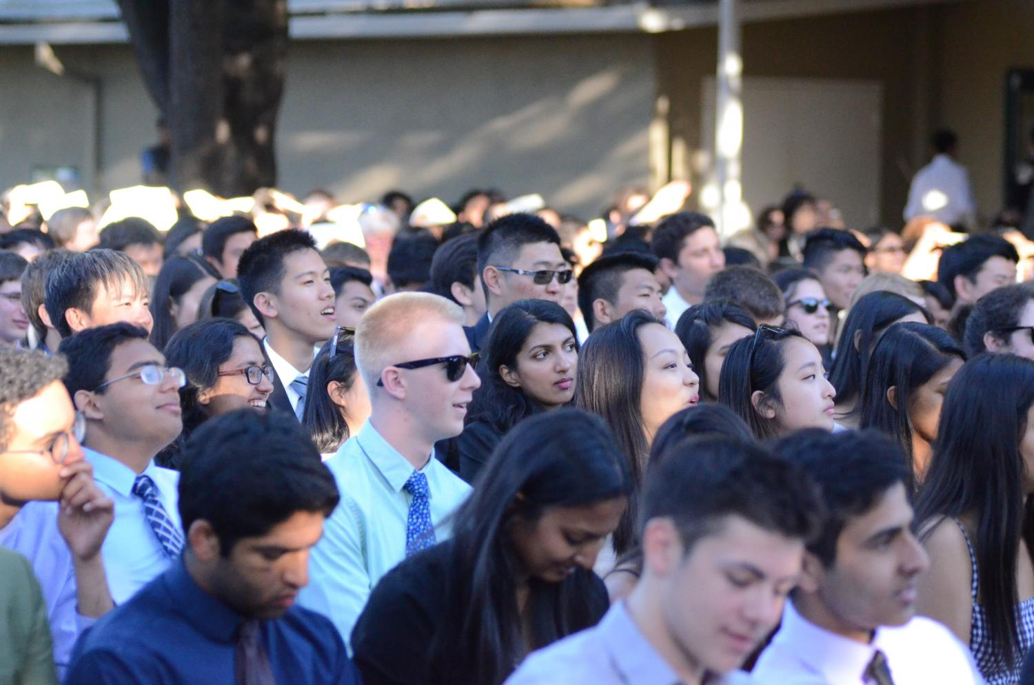 Members of the senior class listen to Baccalaureate faculty speaker Samuel Lepler's speech. Today's Baccalaureate ceremony took place in the Quad from 6:30 to 7:30 p.m.