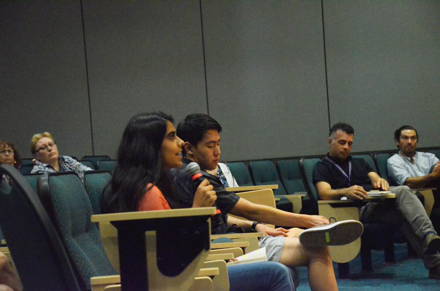 Aliesa Bahri (12) asks speaker Jeff Chang a question about the role of local leaders in sparking change. Todays Q&A session ran from 12:50 to 1:30 p.m. today.