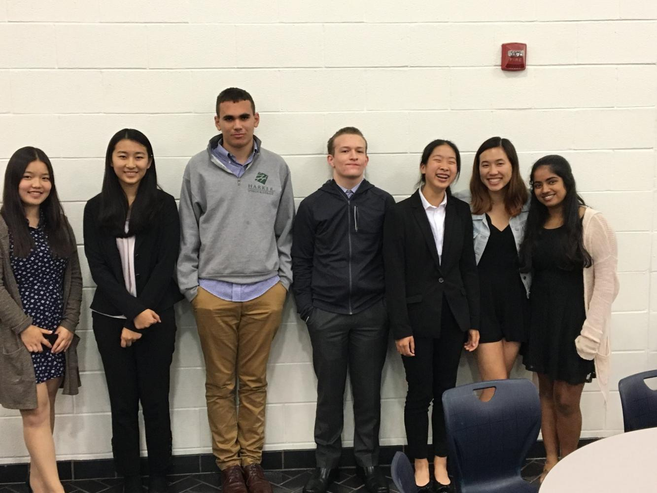 Cindy Wang (11), Clarissa Wang (11), Jacob Ohana (12), Alan Hughes (12), Kelly Shen (11), Megan Huynh (12) and Anusha Kuppahally (11) pose for a photo at the Grapevine tournament. Team Cindy and Clarissa advanced to the octofinals in public forum and team Megan and Anusha advanced to the octofinals in policy debate.