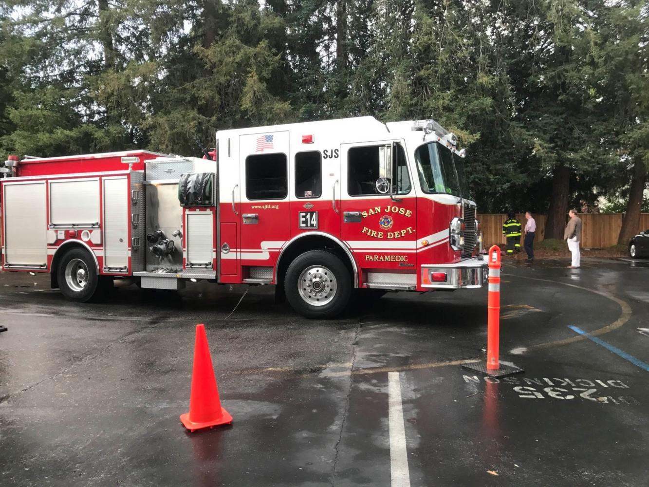 A San Jose Fire Department truck arrives at the scene of the lightning strike. By the time the firefighters arrived, the tree's fire had already gone out.
