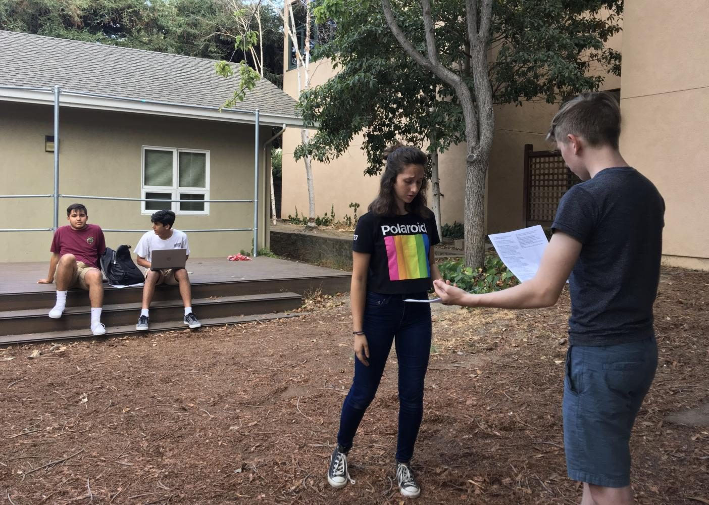 Junior+Dilara+Ezer+and+senior+Maxwell+Woehrman+rehearse+an+excerpt+of+a+scene+from+%E2%80%9CThe+Comedy+of+Errors%E2%80%9D+during+callbacks+yesterday.+The+play+will+be+performed+from+Oct.+26+to+Oct.+28+at+the+Blackford+theater.
