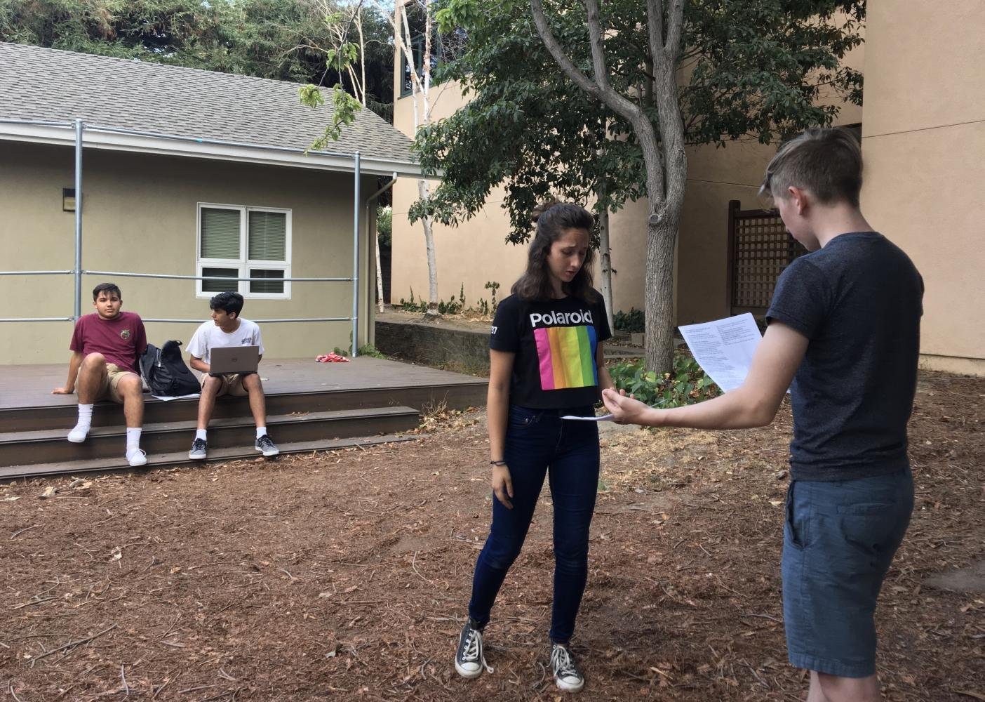 "Junior Dilara Ezer and senior Maxwell Woehrman rehearse an excerpt of a scene from ""The Comedy of Errors"" during callbacks yesterday. The play will be performed from Oct. 26 to Oct. 28 at the Blackford theater."