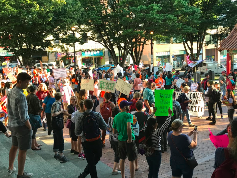 Protesters gather in Seattle's Hing Hay Park to protest in favor of keeping the DACA program and protecting illegal immigrants from deportation. Texas Attorney General Ken Paxton, along with attorney generals and a governor from nine other states, gave President Trump an ultimatum to terminate the DACA program, an initiative which protects illegal immigrants who came to the United States when they were 16 or younger from deportation, before Sept. 5.