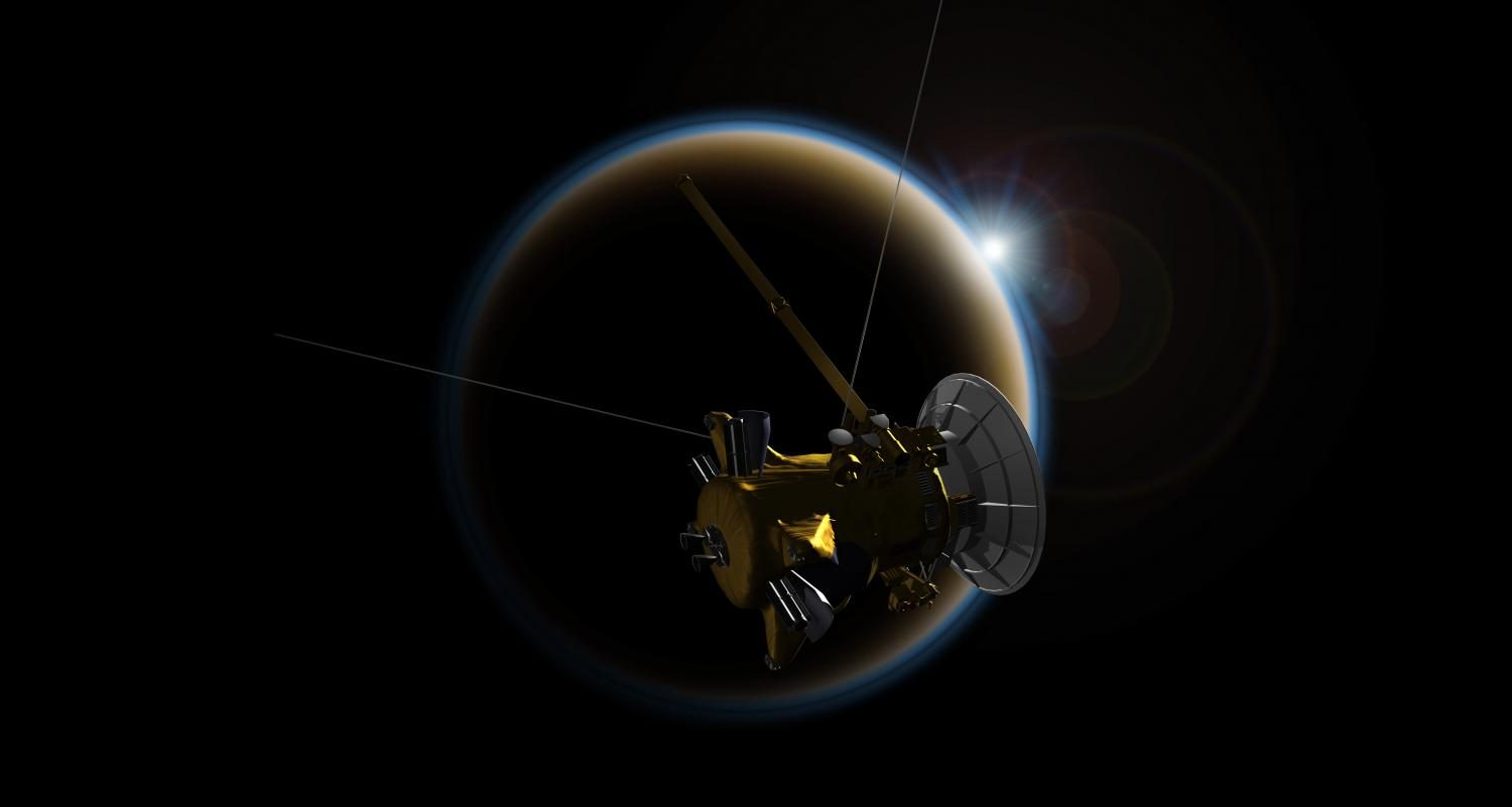 The Cassini spacecraft makes a flyby around Titan, one of Saturns moons. The spacecraft is set to plunge into Saturns atmosphere early tomorrow morning.