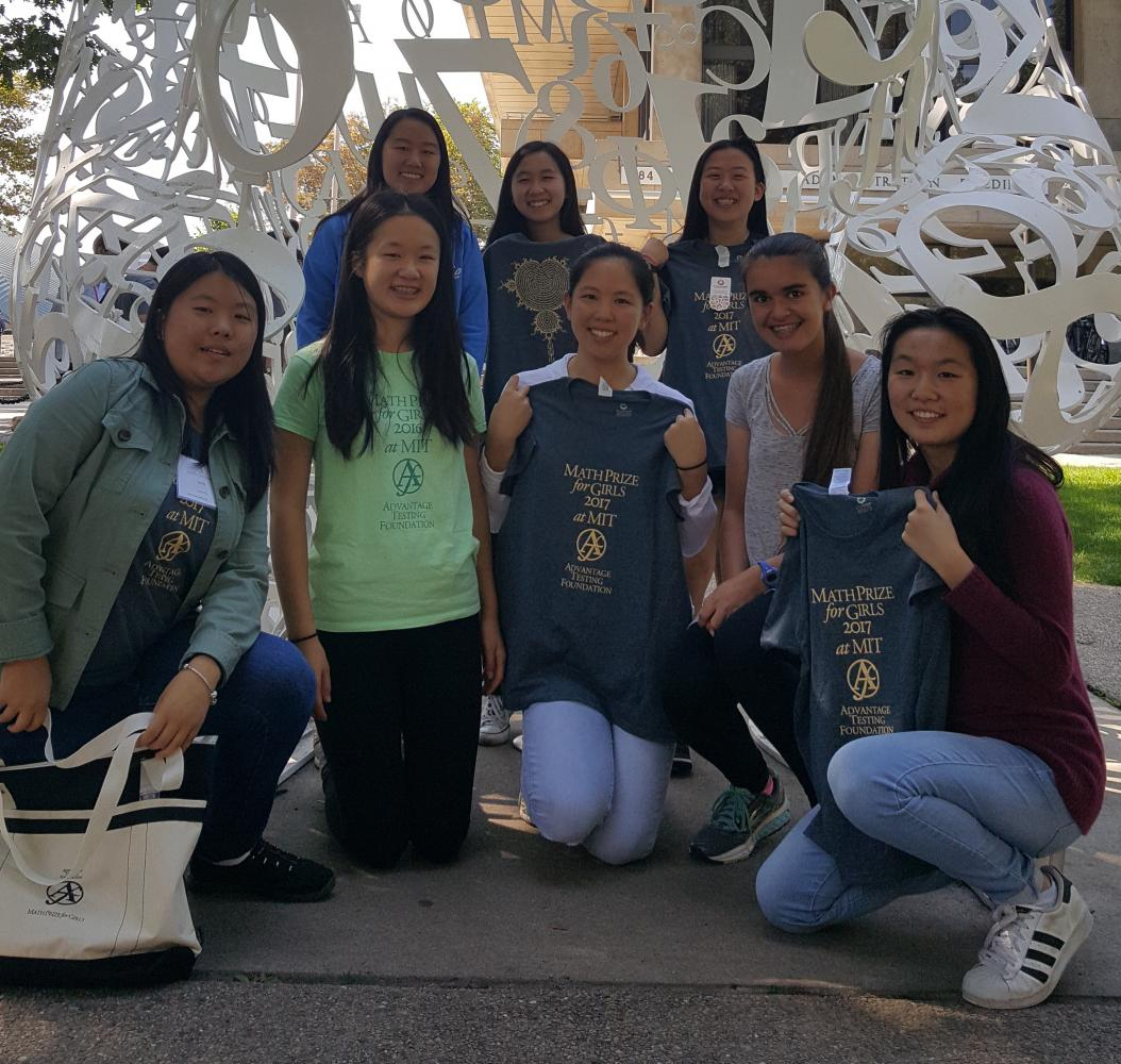 (From left to right) Emily Liu (10), Katherine Tian (11), Cynthia Chen (10), Gwyneth Chen (12), Joanna Lin (12), Grace Huang (10), Allison John (9) and Katherine Zhang (11) pose in front of the Stratton Student Center at MIT after the contest. Math Prize for Girls was held on Sept. 24 at MIT.
