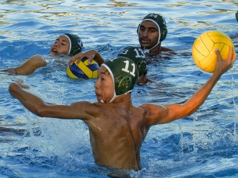 Varsity boys water polo defeats Cupertino during senior night