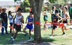 Aditya Singhvi (9) runs in a cross country meet. He began running in middle school.