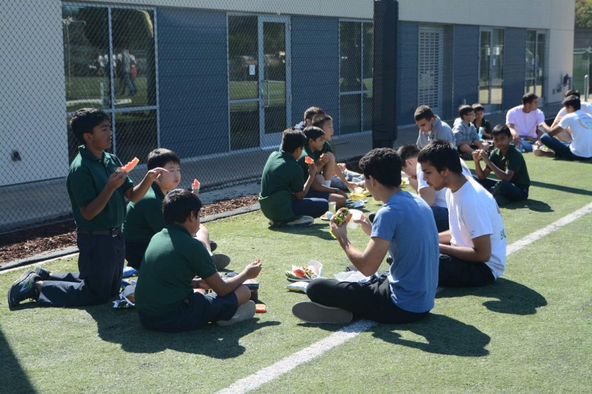 Seniors+and+their+Eagle+Buddies+enjoy+lunch+on+Davis+Field.+Students+were+allowed+to+eat+on+the+turf+and+on+the+bleachers+facing+Shah.