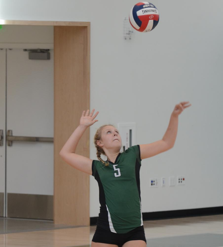 Co-captain Hannah Sobczyn (9) serves the ball to Sacred Heart Prep. During the match, the team only missed one serve.