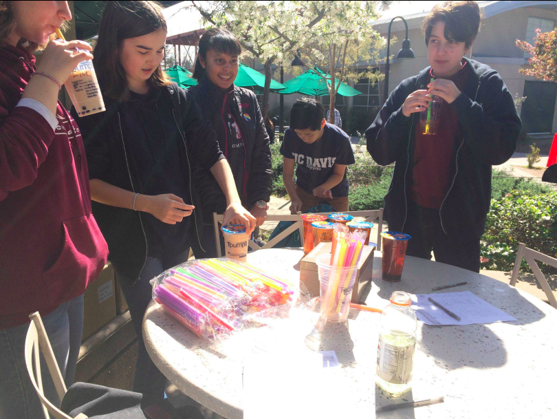 Members of GSA sell boba outside Manzanita during a fundraiser for their club week last year. GSA members handed out stickers to passing students and faculty on Tuesday.