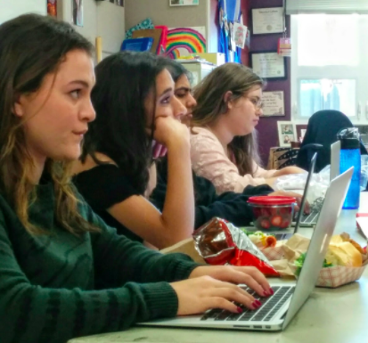 SDS directors Haley Keller (12), Sameep Mangat (12), Anika Banga (12) and Jessica Skinner (12) take notes during the initial round of auditions on Monday and Tuesday.