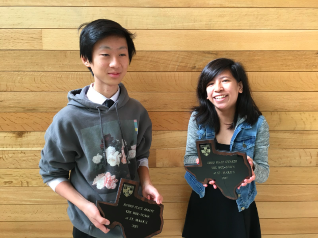 Andy Lee (9) and Maddie Huynh (10) pose with their Sophomore Hoedown awards from the Heart of Texas Invitational. Maddie was awarded third speaker and Andy was awarded fifth speaker out of all the competitors in the Hoedown.