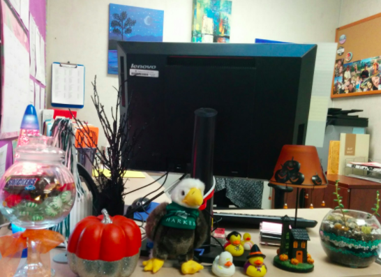 Assistant to Dean of Students Amy Hauck's office is filled with Halloween-themed objects.