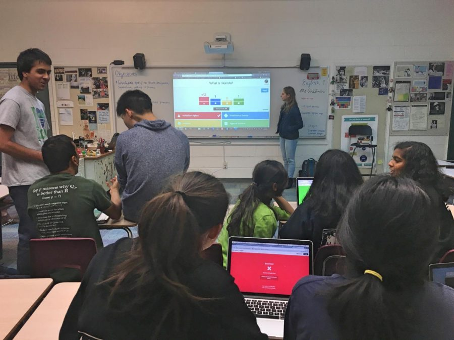 Academic Decathlon Kahoot participants review their answers to the question