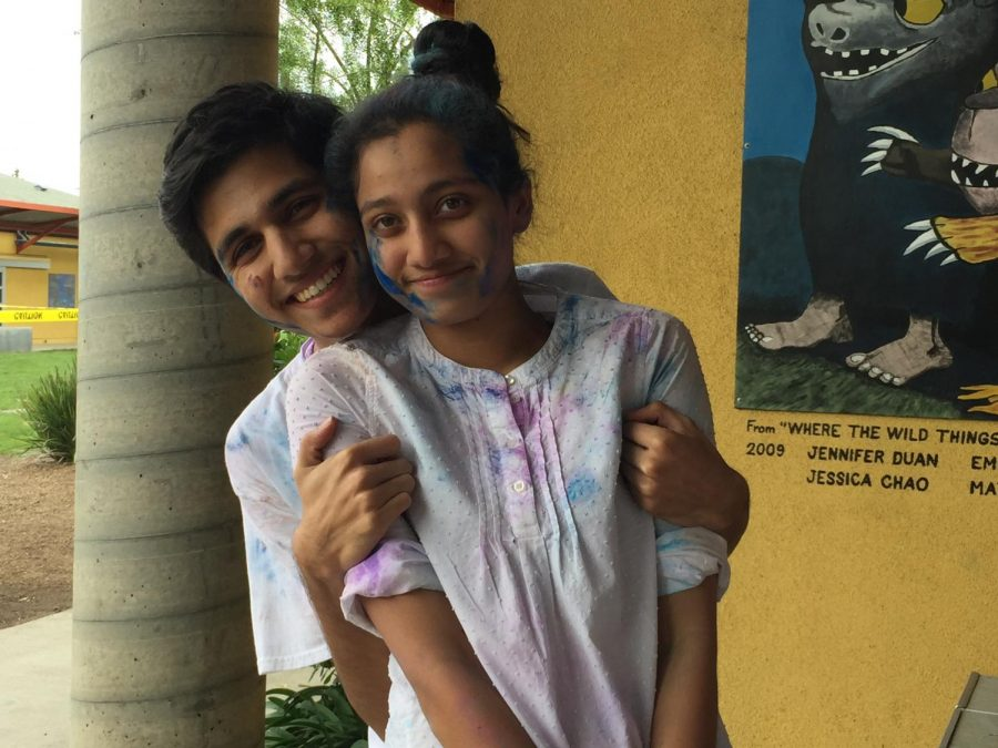 Saloni Shah (9) and her brother Manan Shah ('17) celebrate a festival. In 14 years, Saloni has developed a deep bond with her brother.