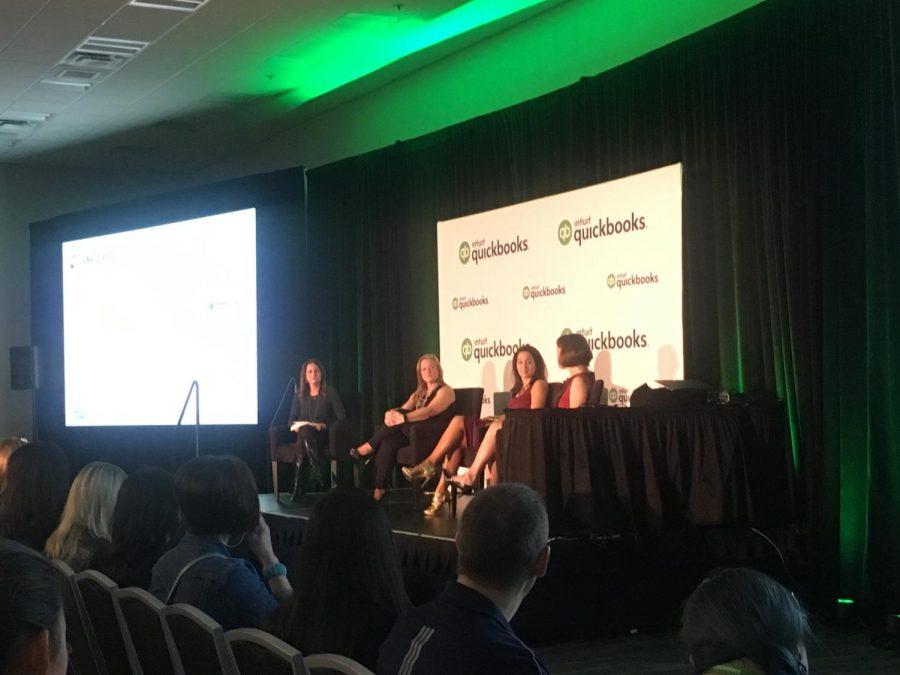 """Previous """"Shark Tank"""" contestants Romy Taormina of PsiBands, Julie Goldman of The Original Runner Co., Julie Busha of Slawsa and Amy Baxter of MMJ Labs partake in a panel. They spoke about their experiences in business and entrepreneurship after appearing on the show."""