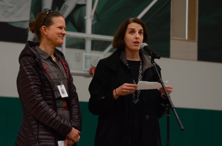 Biology teacher Dr. Kate Schafer and psychology teacher Kelly Horan share details about the Nov. 15 forum during the school meeting on Nov. 9. The next forum will be held on Dec. 8.