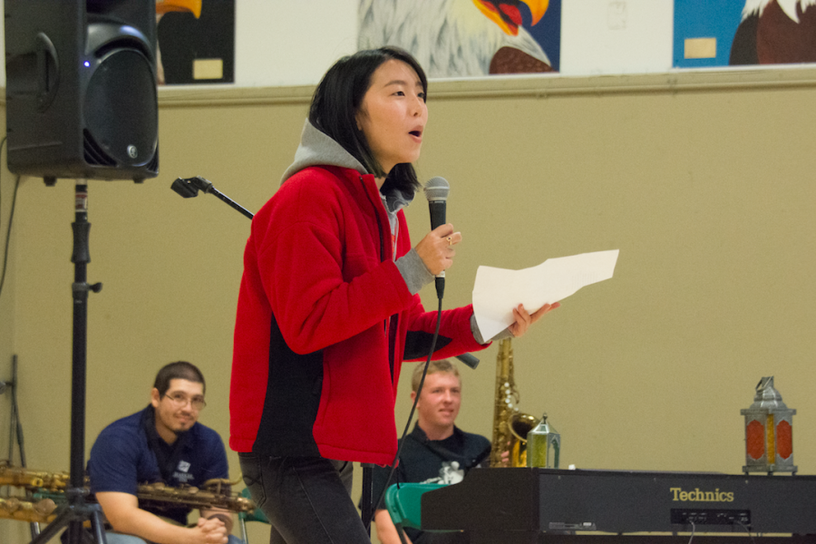 Kaitlyn Nguyen (12) reads a self-written poem to the Quadchella audience. A total of nine acts were featured in the Nov. 3 Quadchella.