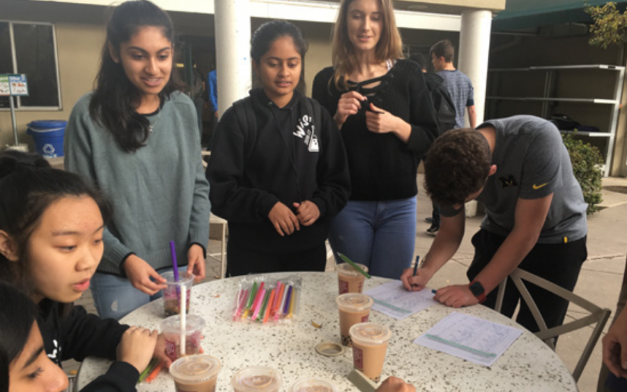 WiSTEM members sell boba outside of Manzanita after school on Monday to fundraise for WISER. The club also hosted University of California: San Francisco professor Dr. Marina Sirota to speak about her research in computational drug discovery and her experience as a woman in STEM.