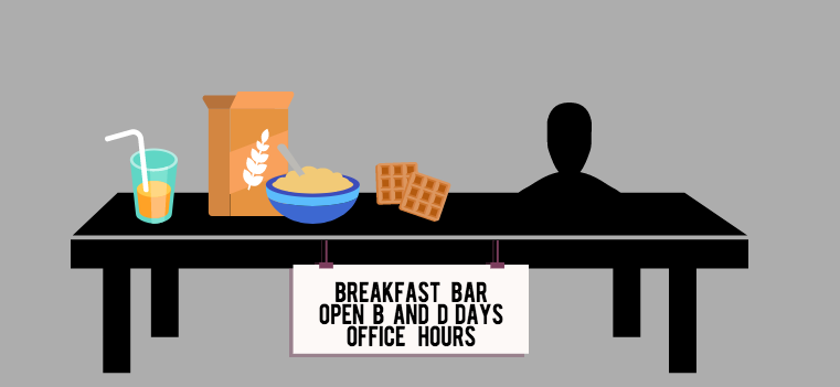 This year's snack bar is open on B and D days during office hours. Seniors Justin Xie and David Wen as well as junior Alycia Cary, the three heads of the Food committee this year, came up with the idea for the snack bar.