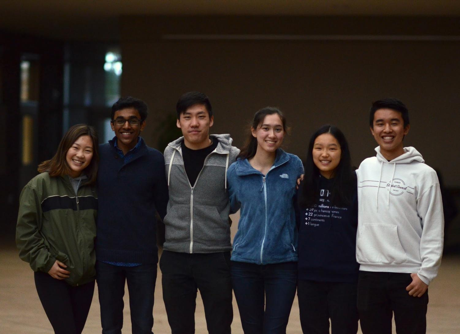 Regeneron scholars Eleanor Xiao, Rajiv Movva, Justin Xie, Amy Dunphy, Amy Jin and Jimmy Lin. The seniors were six of 300 scholars named nationwide in the competition.