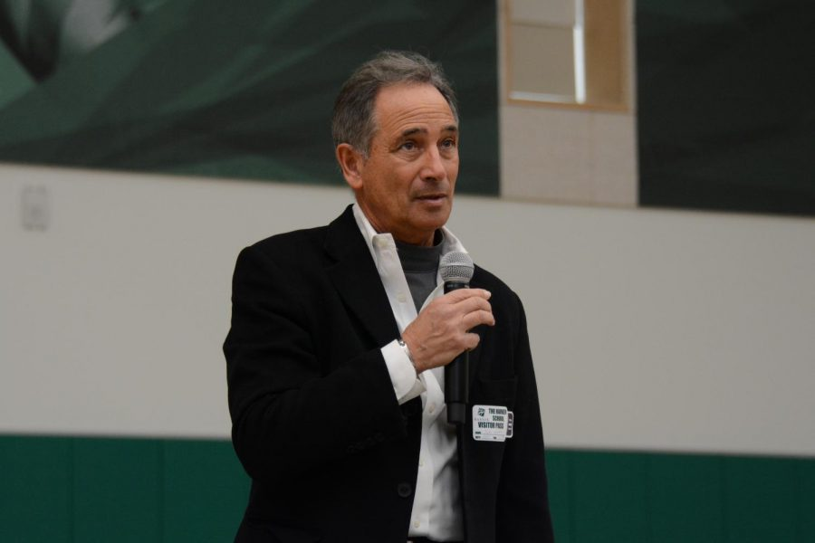 "Founder and president of philanthropic organization The Forgotten International Tom Nazario introduces himself to upper school students and faculty. ""I don't think enough people, particularly people who live like us in the United States in a privileged environment, know about some of the people around the world who live on less than a dollar a day. We travelled to 10 countries around the world in four continents and visiting people who live on so little—and we just talked to them about their lives, how they get by. What do they do? What are their dreams? What happens if someone in the family dies? That's the kind of poverty about one in every seven people in the world live in every day,"