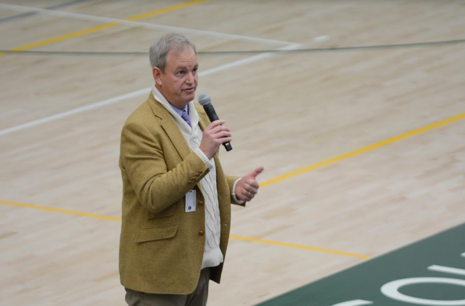 Head of School Brian Yager informs students and faculty of the assault that occurred at the middle school campus on Tuesday morning. He assured the students that the priority of the school is safety and announced that there will be increased security on campus.