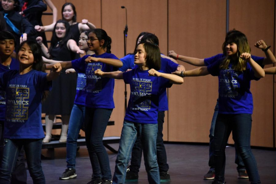 Middle school group Dynamics performs in the concert. Today's concert was one of the first to be held in the new Rothschild Performing Arts Center, which opened to the public on Feb. 2.