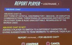 A screen for reporting aggressive chats is displayed. Gamer aggression is a significant problem in the gaming community.